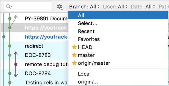 Filter log by branch