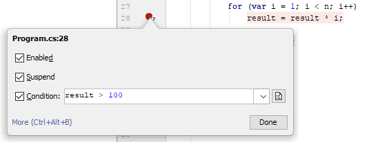 JetBrains Rider: conditional breakpoints