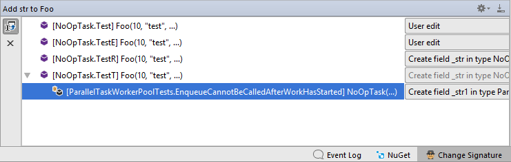 Change signature - updating calls with call diagram