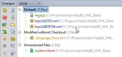 Check project status perforce