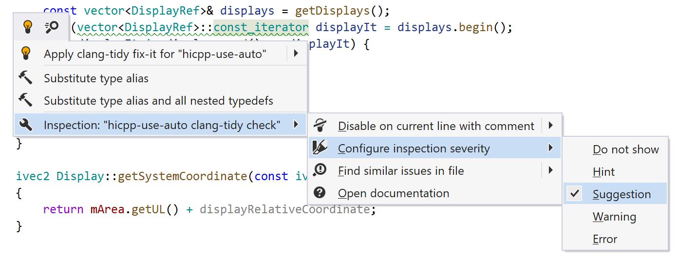 JetBrains Rider: Clang-Tidy inspection menu