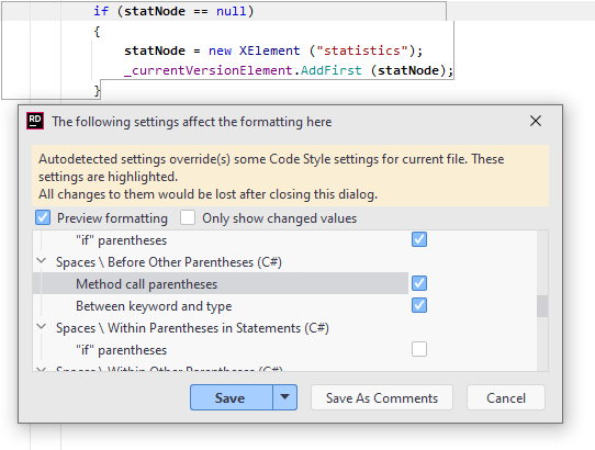Configuring formatting rules for selected code