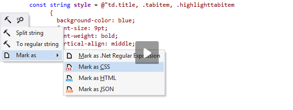 JetBrains Rider: Analyzing CSS code inside a C# string literal