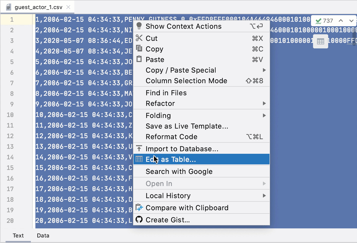 Edit CSV and TSV files in table mode