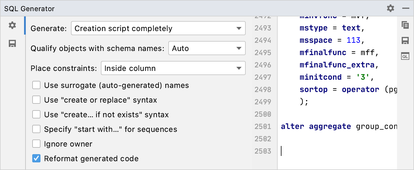 Generate DDL definitions for database objects