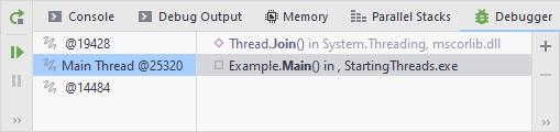 JetBrains Rider: debug frames select thread