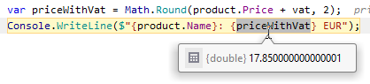 JetBrains Rider: Value tooltips for variables when debugging