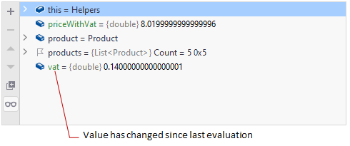 JetBrains Rider: updated variable highlighted in the Debug window