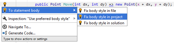 JetBrains Rider. 'To statement body' quick-fix
