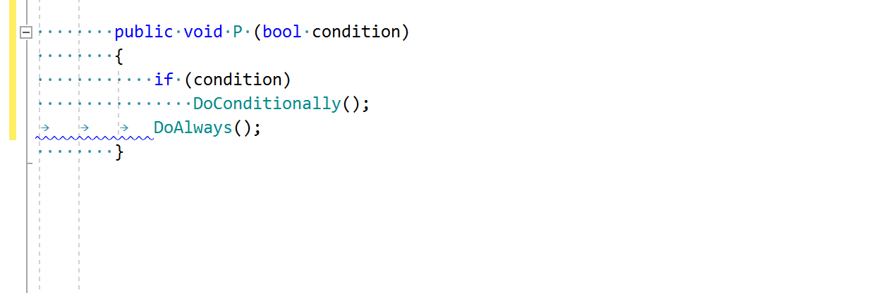 JetBrains Rider code inspection: Incorrect indent (tabs/spaces mismatch)