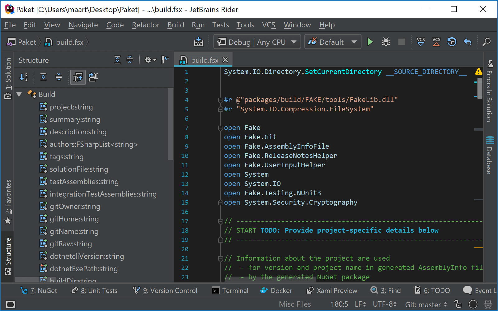 JetBrains Rider: Using the Structure window with F# script