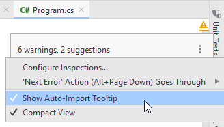JetBrains Rider: Choosing import popup mode from the context menu of the file status indicator