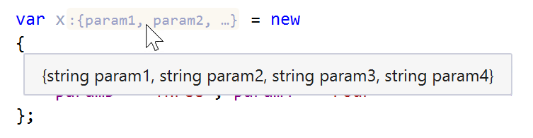 JetBrains Rider: Inlay hints. compact type name