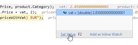 JetBrains Rider debugger: Edit values inline