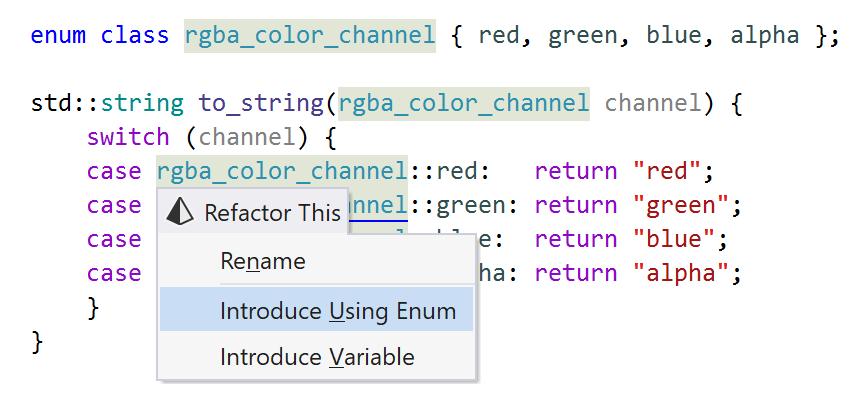 JetBrains Rider: Introduce Using Enum