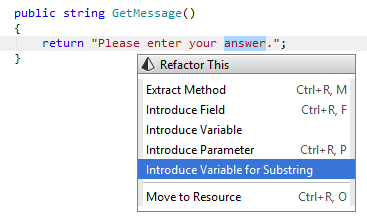 Introducing variable for substring