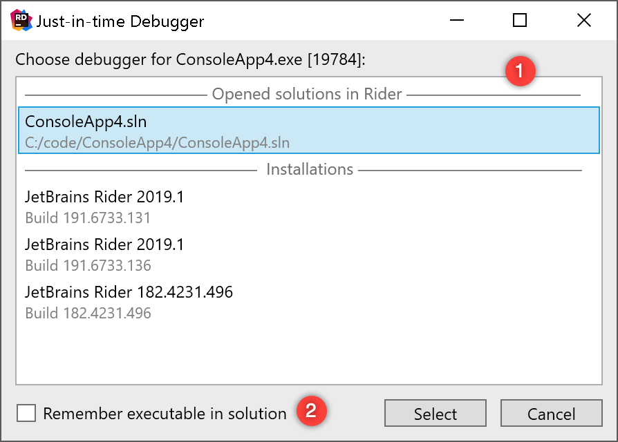 JetBrains Rider: Choosing how to launch just-in-time debugger