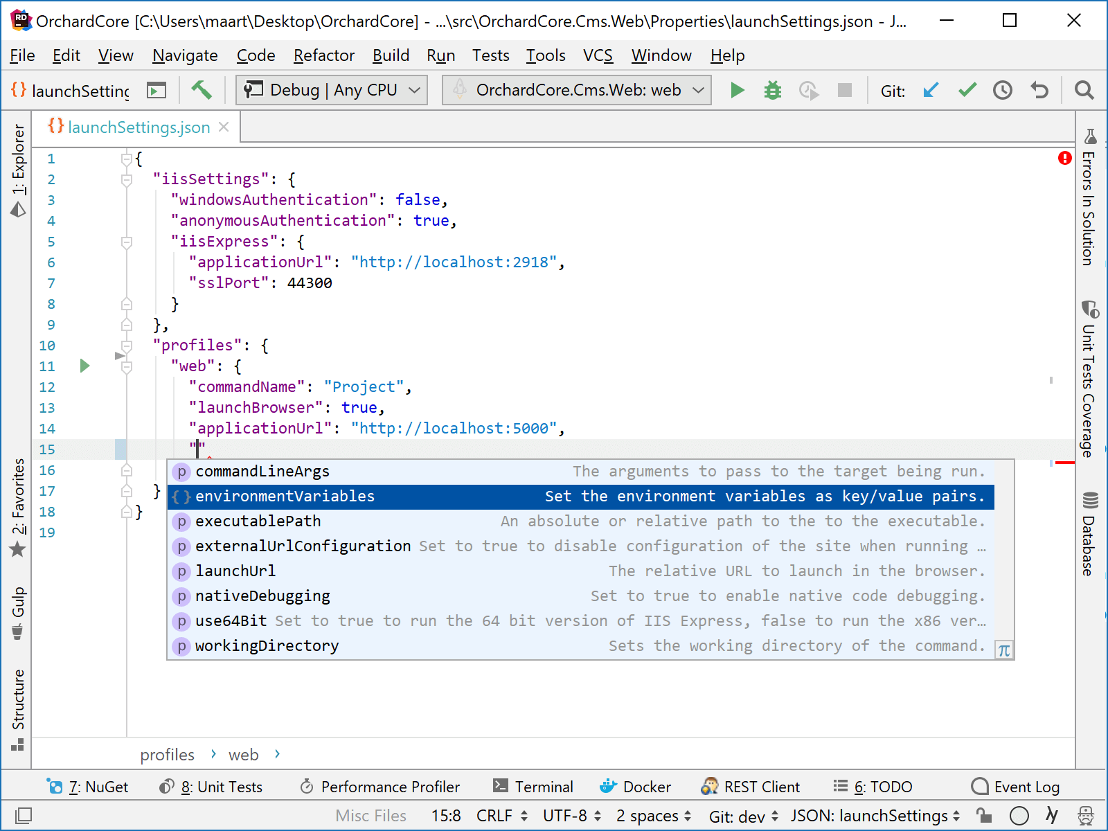 JetBrains Rider: Coding assistance for editing launchSettings.json