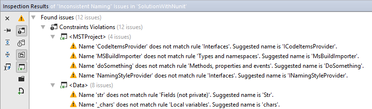 JetBrains Rider: Naming style violations in solution