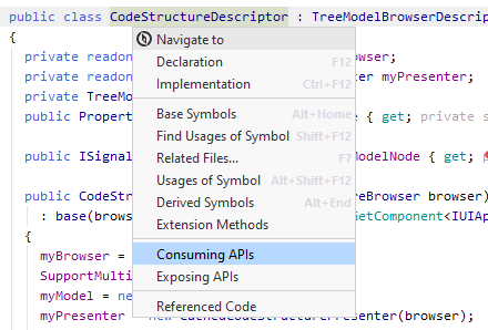 JetBrains Rider: Navigating to consuming APIs of a type