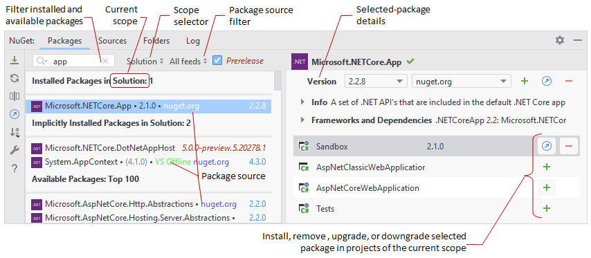 Rider: managing NuGet packages