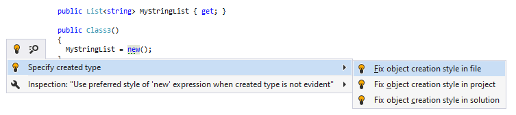 JetBrains Rider syntax style inspection: Specify created type