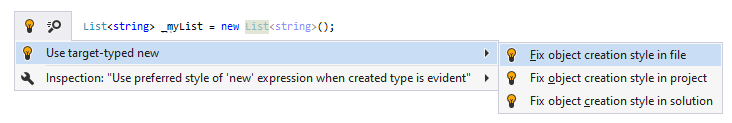 JetBrains Rider syntax style inspection: Use target-typed new