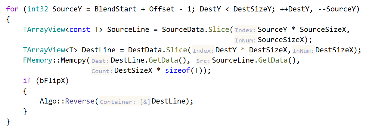 JetBrains Rider C++: parameter name hints in dependent code