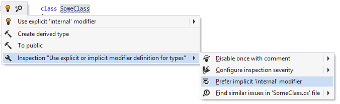 Changing the preference for explicit/implicit 'internal' modifier in the editor