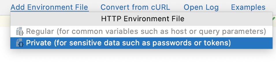 Select Environment popup