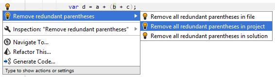 Removing redundant parentheses