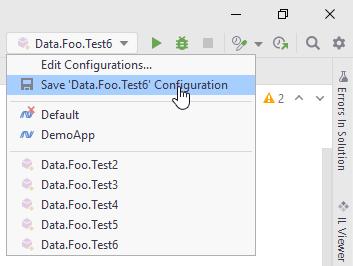 JetBrains Rider: Saving temporary run/debug configuration