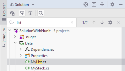 JetBrains Rider: Full search in the Explorer window