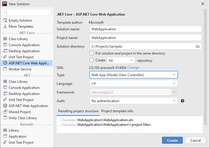 Creating a new ASP.NET MVC application
