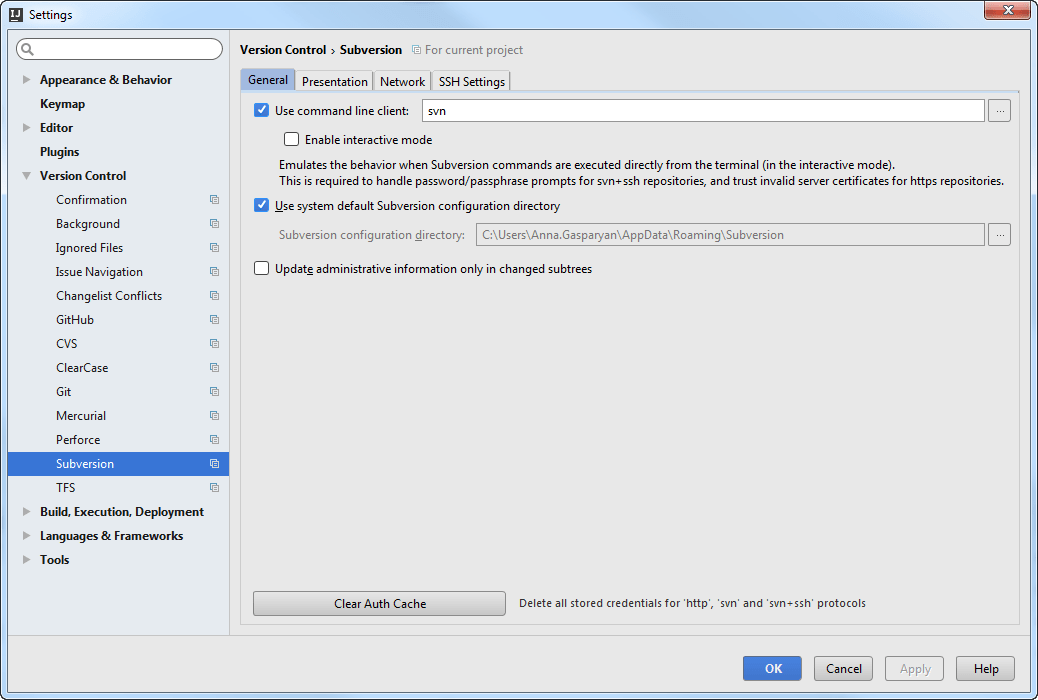 SVN diagnostics. SVN settings