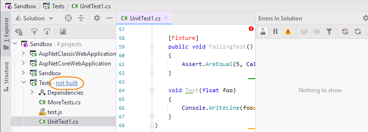 JetBrains Rider: Solution-wide analysis doesn't monitor errors in projects that are not built