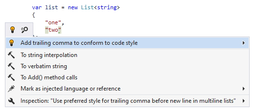 JetBrains Rider syntax style inspection: Add trailing comma