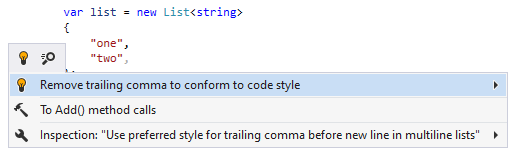 JetBrains Rider syntax style inspection: Remove trailing comma