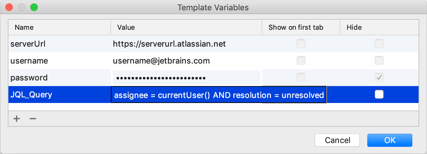 Specifying template variables