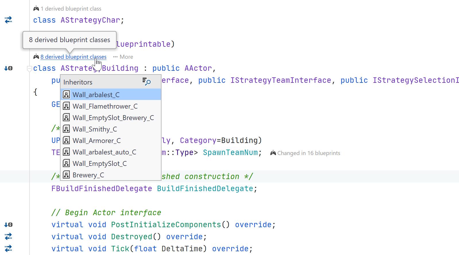 JetBrains Rider: Derived blueprint classes