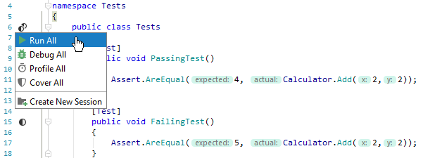 JetBrains Rider: Running unit tests from the editor