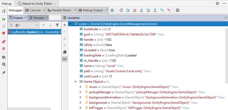 Debug Unity applications