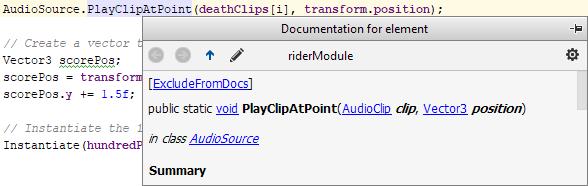 JetBrains Rider: Unity quick documentation