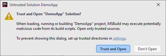 JetBrains Rider. Notification about an untrusted solution