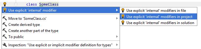 Fixing implicit internal modifier