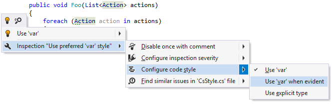 Changing code style preference for 'var' keyword