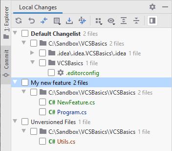 JetBrains Rider: VCS changelists