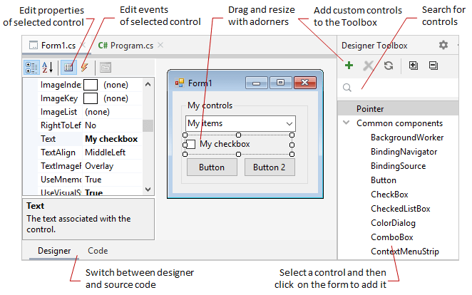 JetBrains Rider: Windows Forms designer