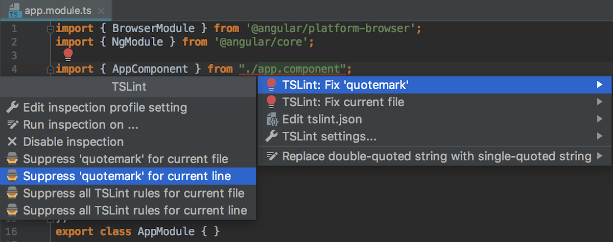 Disabling TSLint rules on the fly by adding disable comments