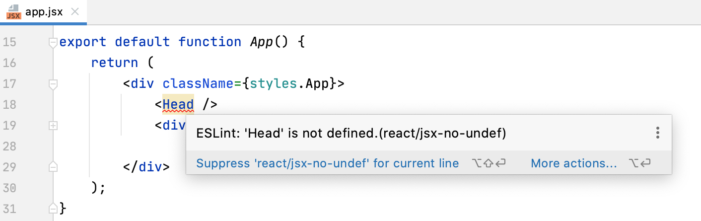 ESLint with React: errors and warnings are highlighted, the description of a problem is shown in a tooltip.